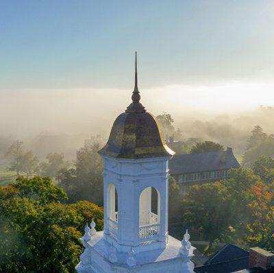 Online Remote Sensing Graduate Certificate: Arial image of steeple taken from drone.