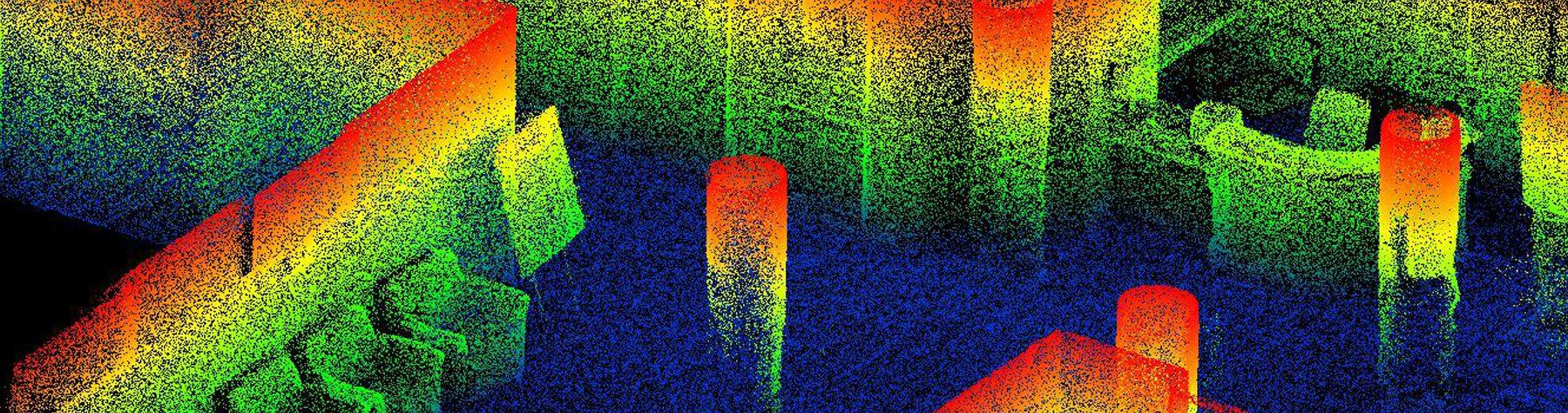 Geospatial Data Analytics Online Graduate Certificate: Image of indoor LiDAR point cloud.